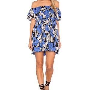 Free People Smocked Babydoll Mini Dress Blue Black